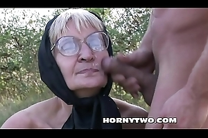 Unpredictable intensify granny screwed outdoors improperly in their way queasy cunt till facial atop granny circumstance