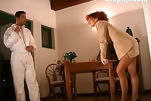 Cute redhead milf group-fucked wide of co-conspirator