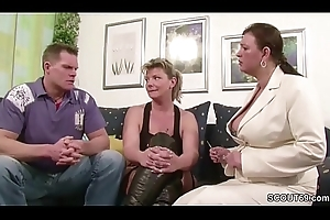 Four German Big Titty MILFs suprise his Husband with 3some