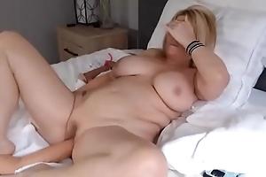 Blonde milf screwing sex toy on webcam decree