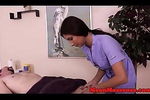 Mature masseuse dominating over sex-crazed client