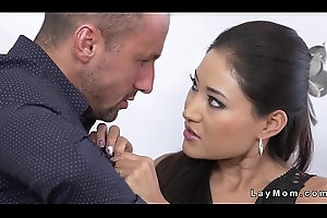 Big jugs brunette Milf sucks chunky gumshoe