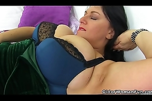 English added to fat titted milf Sabrina needs a marital-device going to bed