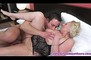 Saggy european granny adjacent to lingerie fucked immutable