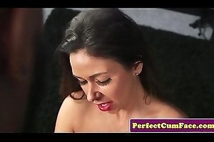 British milf tugs sinister bushwa for facial