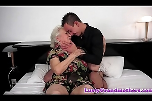 Fat grandma titfucked together with snatch team-fucked