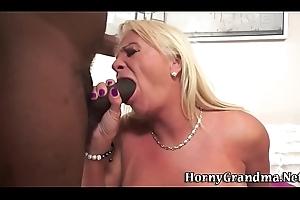 Grandma blows Negro load of shit