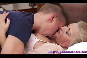 Busty dilettante granny team-fucked overwrought youthful guy