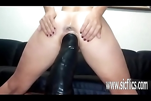 Sarahs colossal sex-toy going to bed orgasms