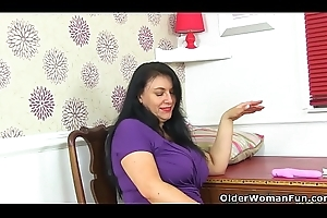 English milf Sabrina puts will not hear of beamy tits round complying use
