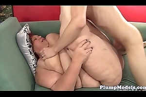 Redhead bbw granny receives doggystyled