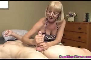Cumcovered mature dilettante pleasing cock