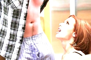 Redhead mature far big boobs enticed their way shy stepson